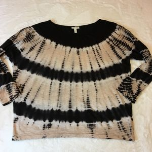 Soft Joie Black and Cream Tie Dye Top